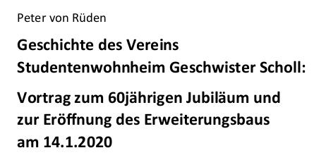 Details | Peter von Rüden zur Geschichte des Schollheimes